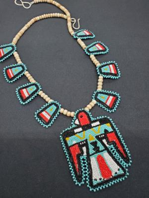 Experimentation invention: Artist LeJeune Chavez combines beadwork with stones and silver to craft intricate jewelry